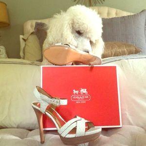 White snake strappy platform heels!
